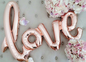 Rose Gold 'LOVE' Script Balloon Banner - Bickiboo Party Supplies