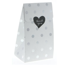 Sambellina White with Silver Foil Polkadot Treat Box - 12 Pack