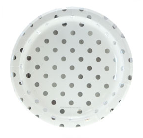 Sambellina White with Silver Foil Polkadot Plates - Bickiboo Designs