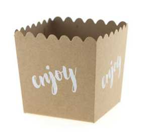 Kraft with White Enjoy Scallop Favour Box (6 pack) - Bickiboo Designs