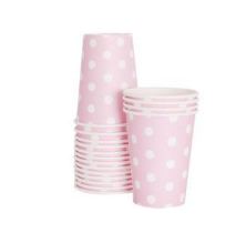 Marshmallow pink polka dot party cup - Bickiboo Designs