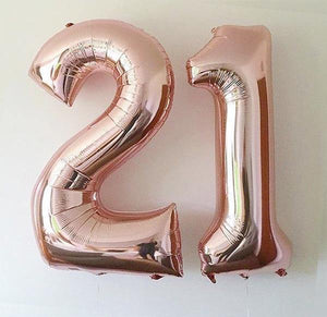 Rose Gold 86cm Number Foil Balloons - Bickiboo Designs