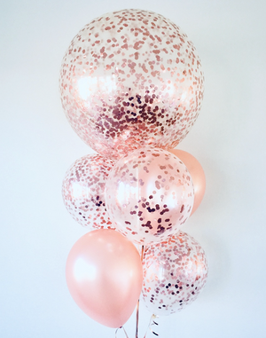 Helium Filled  Rose Gold Balloon Bunch