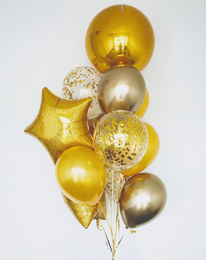 Shades of Gold Balloons Bouquet