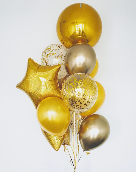 Bickiboo Designs Shades Of Gold Confetti Balloons