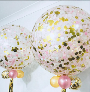 Jumbo Helium Filled Confetti Balloon - Blush & Gold