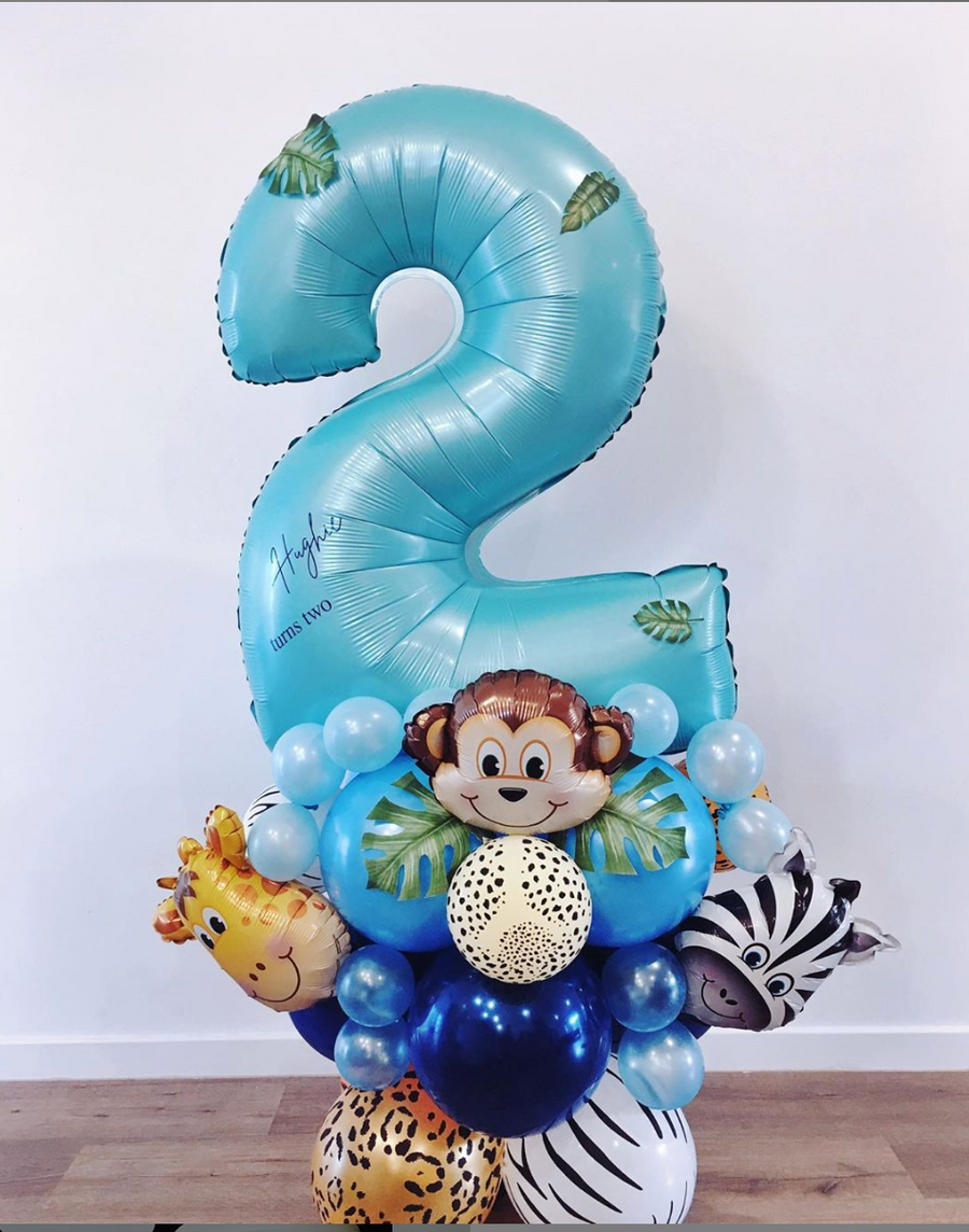 Bespoke number balloon stand - Jungle animals