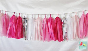 Tissue Paper Tassel Garland - Shades of Pink - Bickiboo Designs
