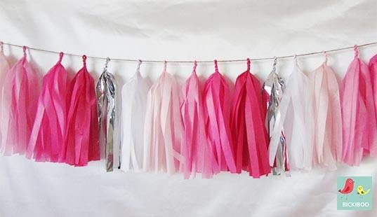 Tissue Paper Tassel Garland - Shades of Pink