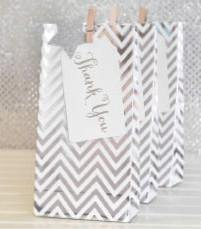 Silver Foil Chevron Party Bag