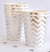 Silver Foil Chevron Party Cup