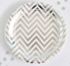 Silver Foil Chevron Large Party Plate - Bickiboo Designs