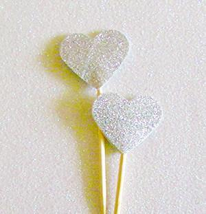 Silver Glitter Heart Swizzle Sticks