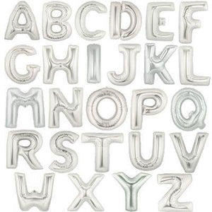 Giant Silver Foil Letter Balloon 100cm - Bickiboo Designs