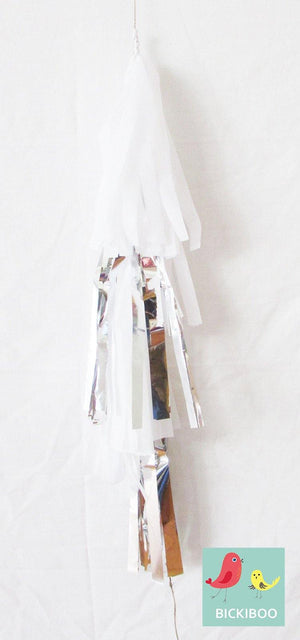 Petite Balloon Tassel Tail - White & Silver - Bickiboo Party Supplies
