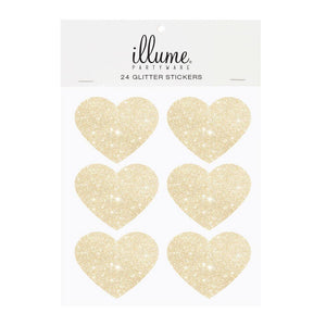 Gold Glitter Heart Sticker Seals - Pack of 24 - Bickiboo Designs