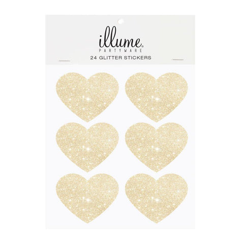Gold Glitter Heart Sticker Seals - Pack of 24 - Bickiboo Party Supplies