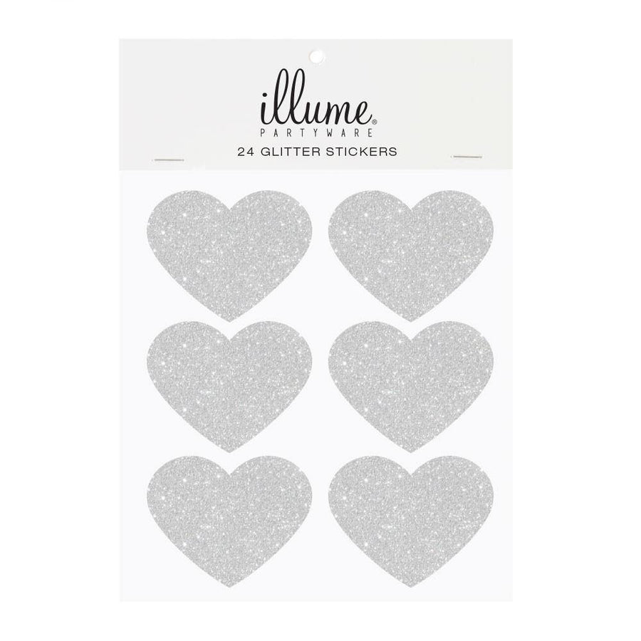 Silver Glitter Heart Sticker Seals - Pack of 24 - Bickiboo Designs