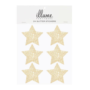Gold Glitter Star Sticker Seals - Pack of 24 - Bickiboo Party Supplies