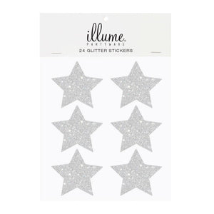 Silver Glitter Star Sticker Seals - Pack of 24 - Bickiboo Designs