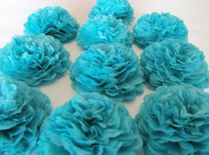 Turquoise Button Mums Tissue Paper Flowers - Bickiboo Designs