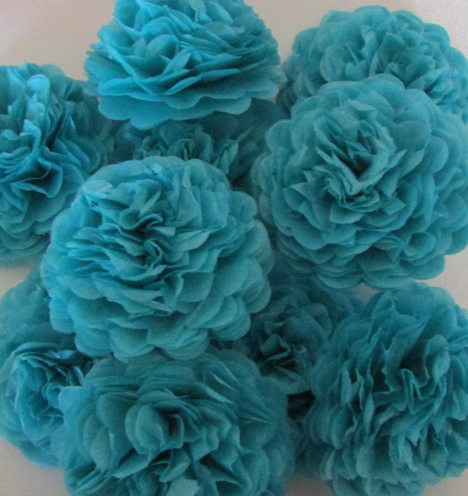 Turquoise Button Mums Tissue Paper Flowers Bickiboo Party Supplies