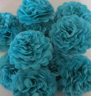 Turquoise Button Mums Tissue Paper Flowers