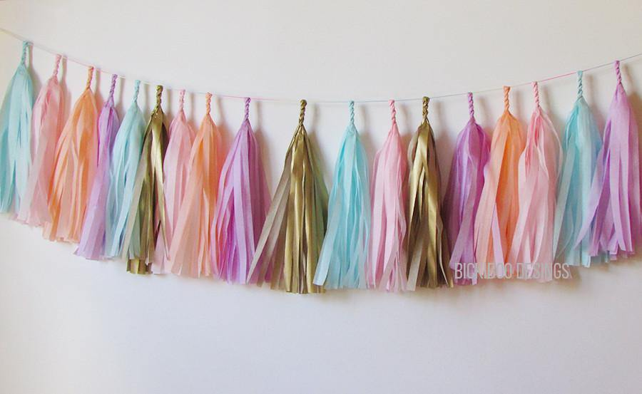 Tissue Paper Tassel Garland - Unicorn Party - Bickiboo Designs