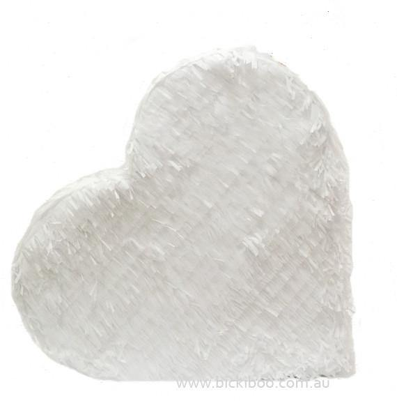 White Fringed Heart Piñata
