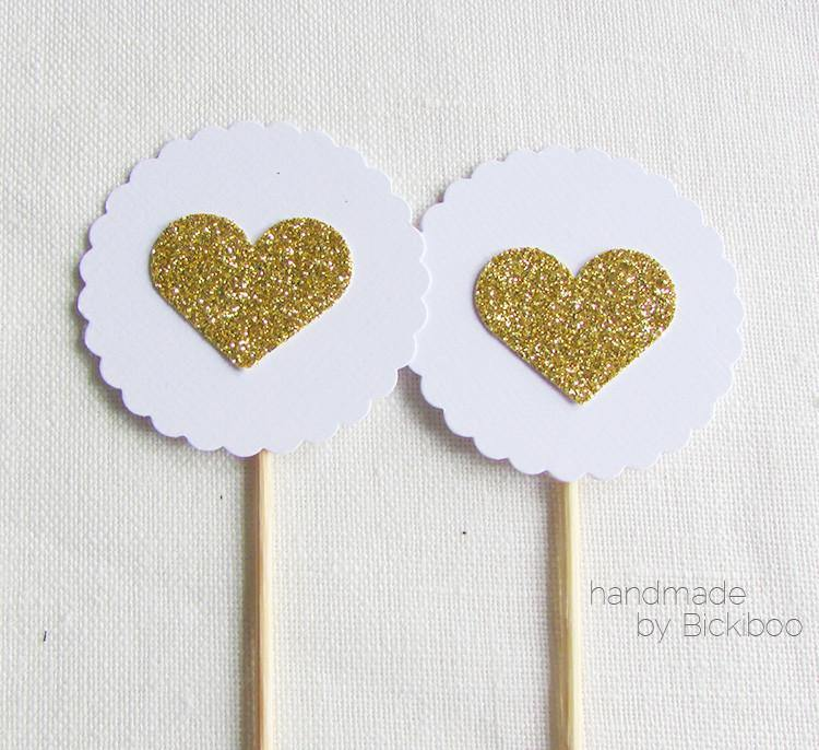 White & Gold Glitter Cupcake Toppers - Bickiboo Designs