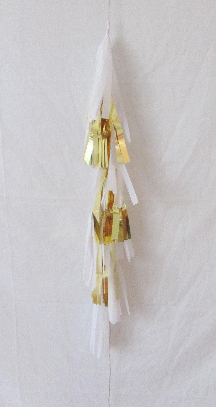 Petite Balloon Tassel Tail - White & Gold - Bickiboo Party Supplies