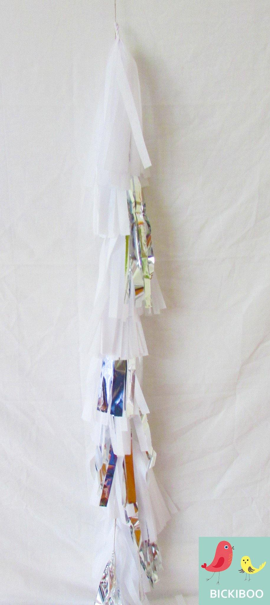 Balloon Tassel Garland - White & Silver - Bickiboo Party Supplies