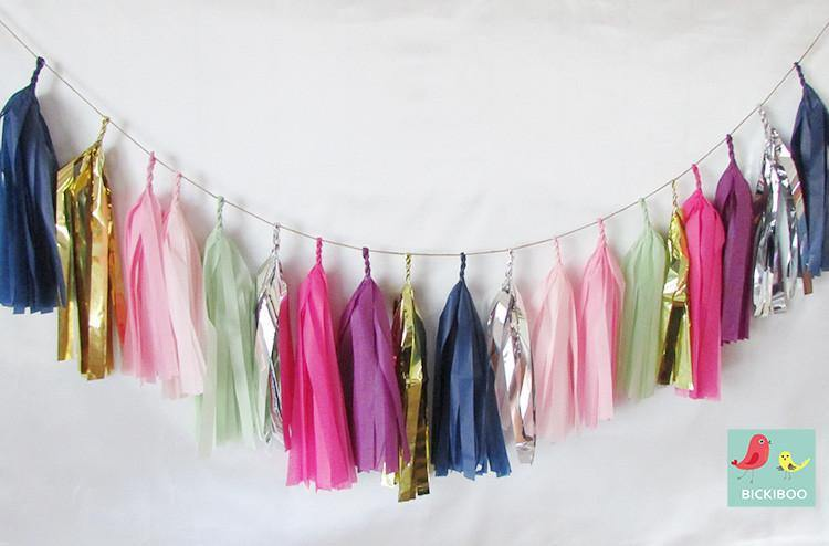 Tissue Paper Tassel Garland - Wild Berries