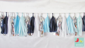 Tissue Paper Tassel Garland - Winter Breeze