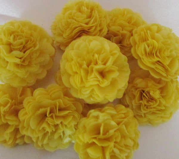 Yellow Button Mums Tissue Paper Flowers