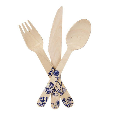 Party Porcelain Wooden Cutlery (pack of 12) - Bickiboo Party Supplies