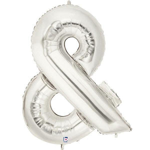 Giant Silver Foil Ampersand Balloon 100cm - Bickiboo Party Supplies