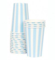 Powder Blue Stripe Party Paper Cups - Bickiboo Party Supplies