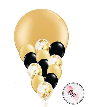 Black & Gold & Gold Confetti Balloon Bouquet