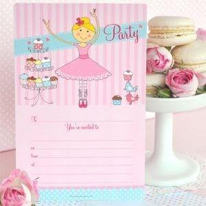 Ballerina Birthday Party Invitation - Bickiboo Party Supplies