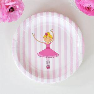 Ballerina Round Dessert Party Plate - Bickiboo Party Supplies
