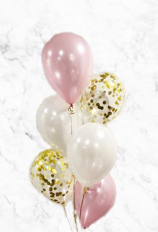 Pearl White & Blush with Gold Confetti Balloons Bouquet