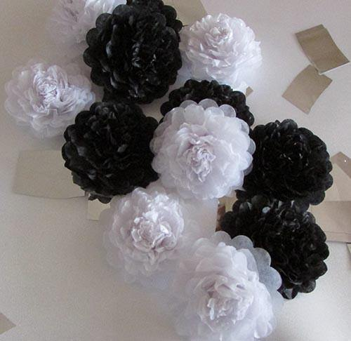 Black Button Mums Tissue Paper Flowers - Bickiboo Party Supplies