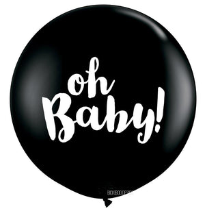 Oh Baby Giant Black Balloon - 90cm - Bickiboo Designs