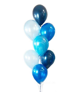 Blue Balloons Bouquet with a Marble Balloon - Bickiboo Designs