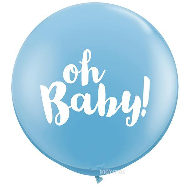 Oh Baby Giant Blue Balloon - 90cm - Bickiboo Designs
