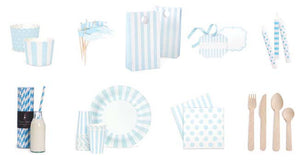Powder Blue stripe large party plate - Bickiboo Party Supplies