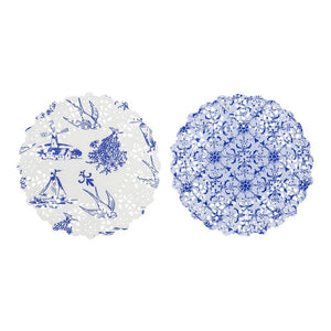 Party Porcelain Blue Mini Doilies (100 Pack) - Bickiboo Party Supplies
