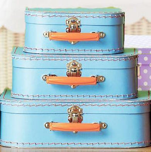 Blue Euro Suitcases - Bickiboo Designs