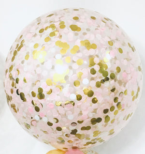 Jumbo Helium Filled Confetti Balloon - Blush & Gold - Bickiboo Designs